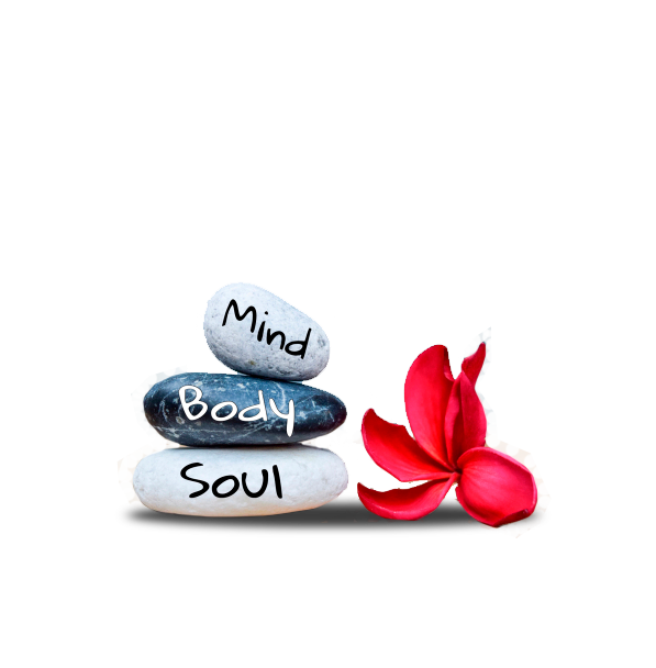 Mind, Body, and Soul written on stones