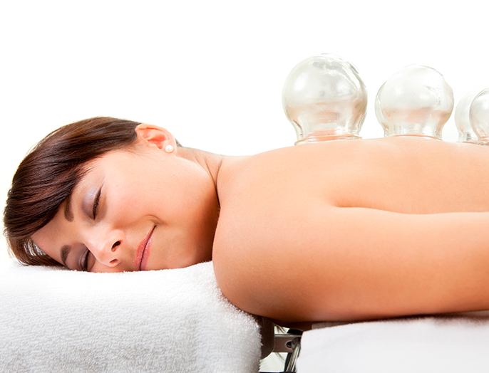 woman in a cupping therapy session